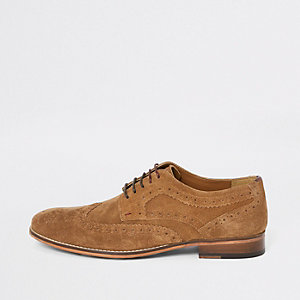 Brown suede lace up derby shoes