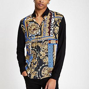 Zwart geblokt overhemd met barokprint en lange mouwen
