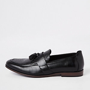 Black RI monogram tassel loafers