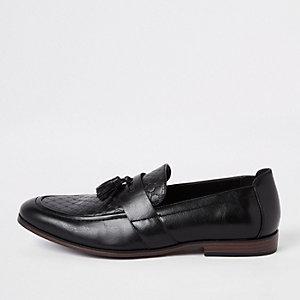Black RI monogram tassel loafers