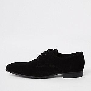 Black suede lace-up derby shoes