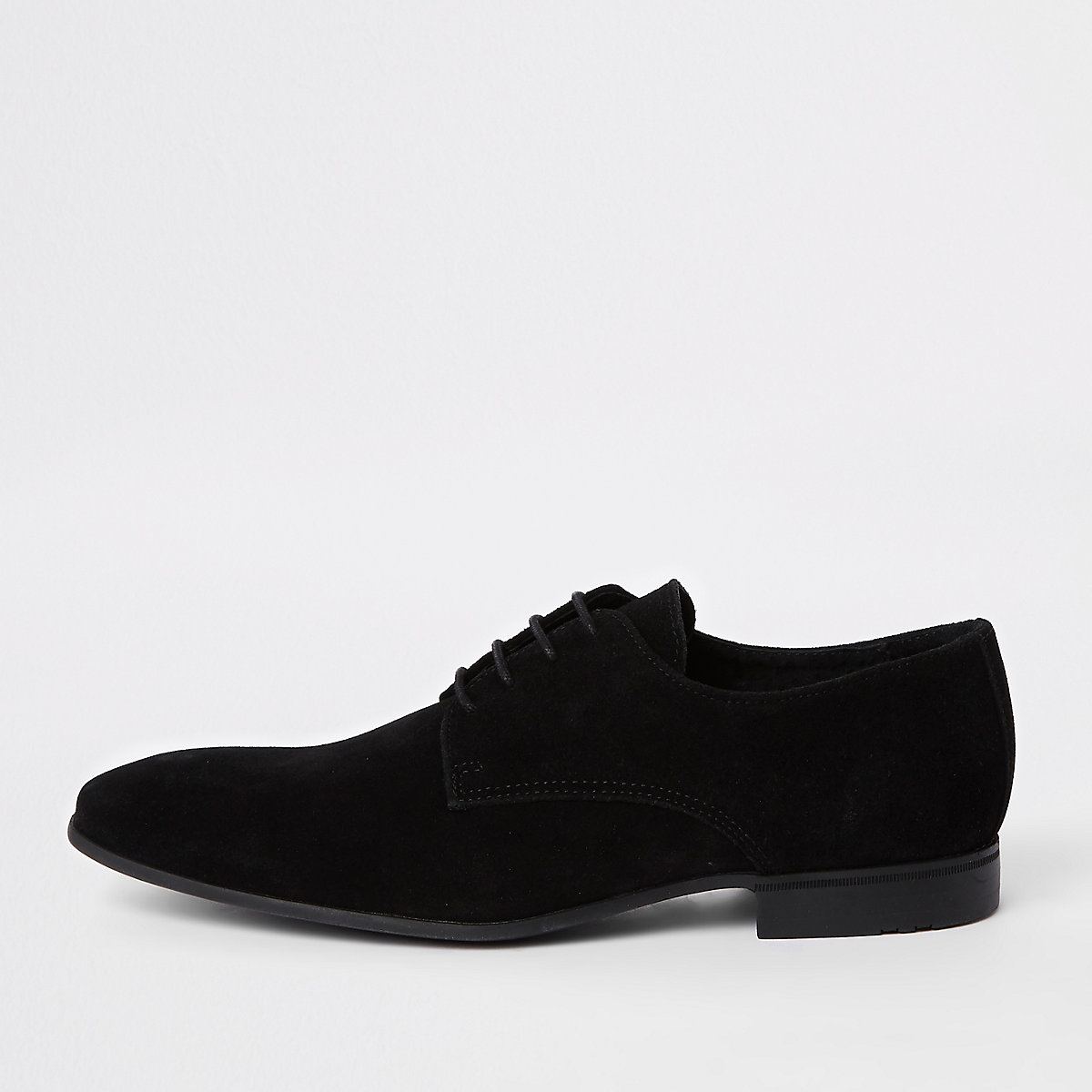 Black suede lace-up derby shoes