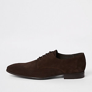 Dark brown suede lace-up derby shoes