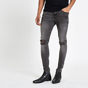 Ollie – Schwarze Spray On Jeans im Used-Look
