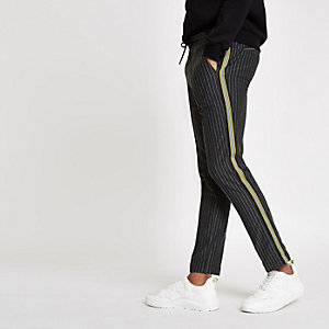 Dark grey stripe super skinny jogger pants