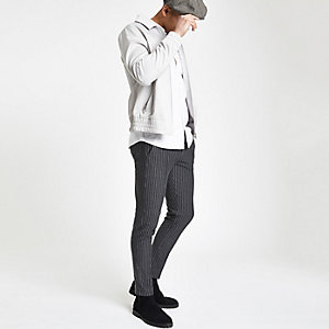Grey pinstripe skinny jogger trousers