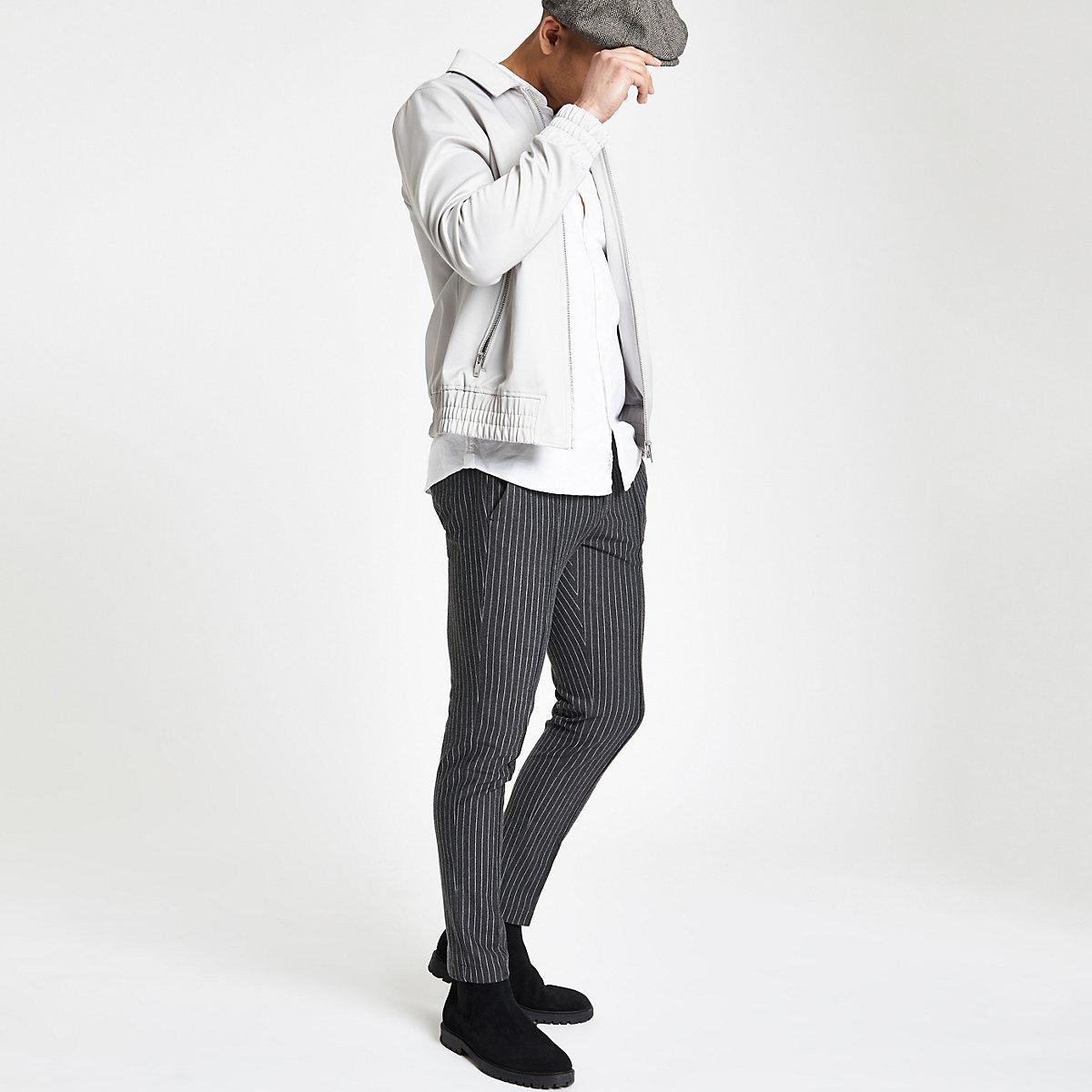 Grey pinstripe skinny jogger trousers