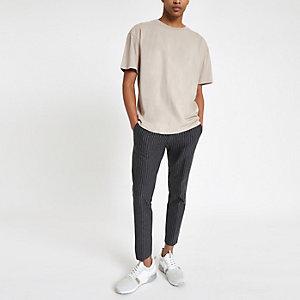 Pantalon court ultra skinny à rayures fines gris