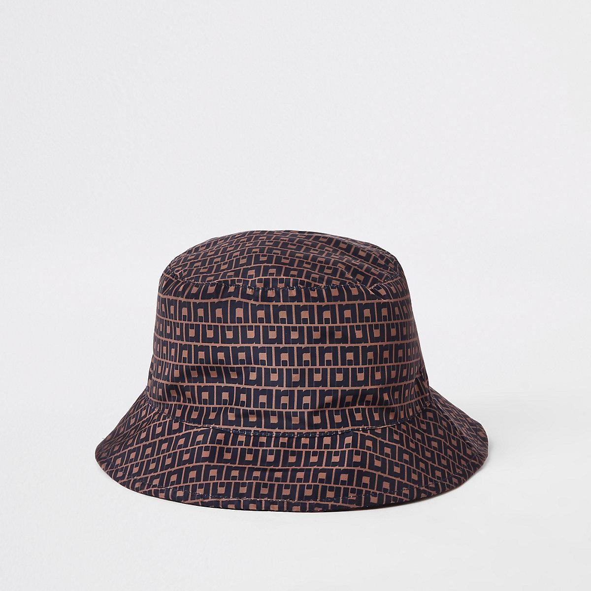 Brown RI monogram bucket hat