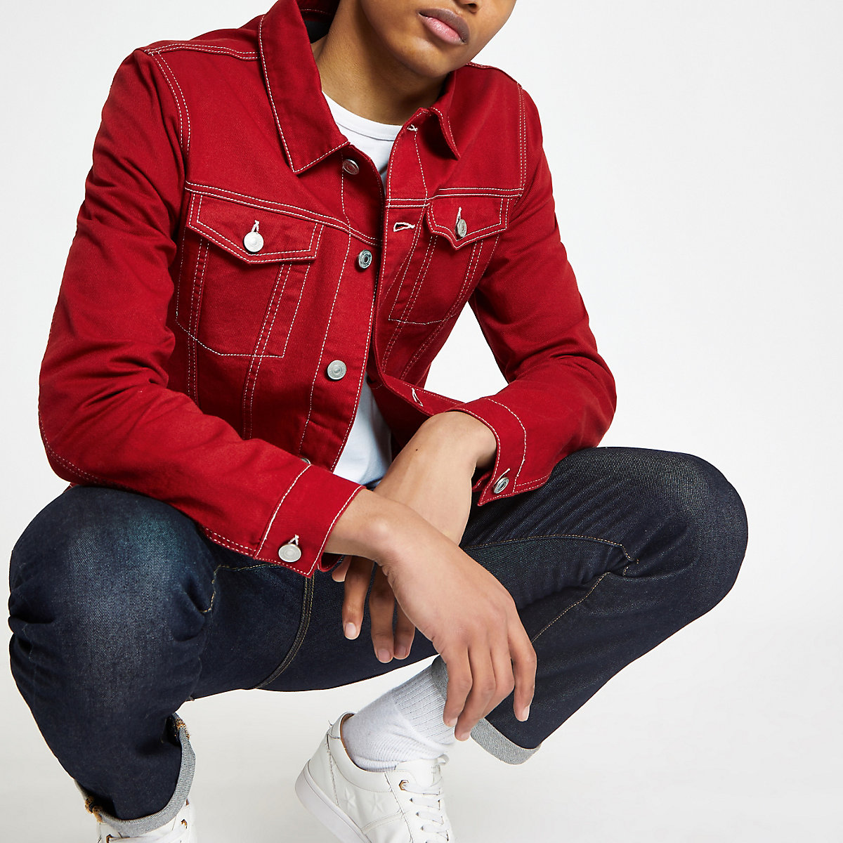 Red contrast stitch denim jacket