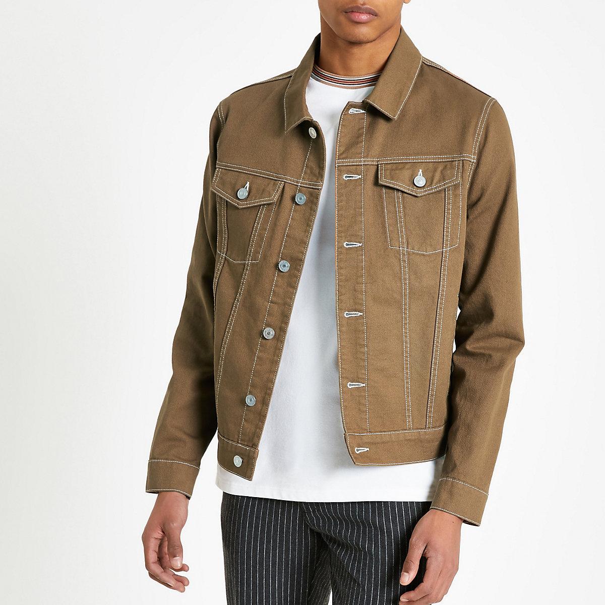 Brown contrast stitch denim jacket