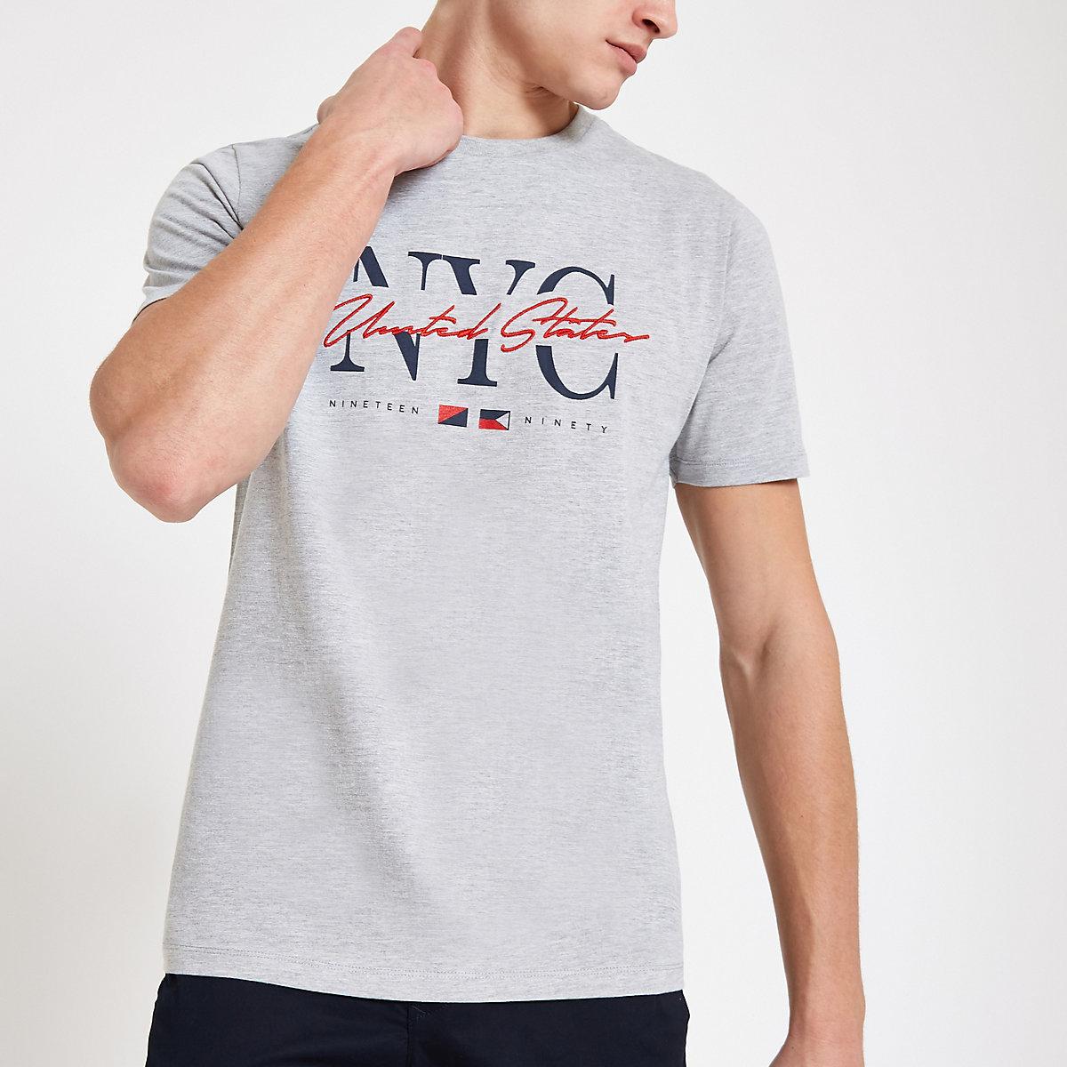 Grey 'NYC' slim fit T-shirt
