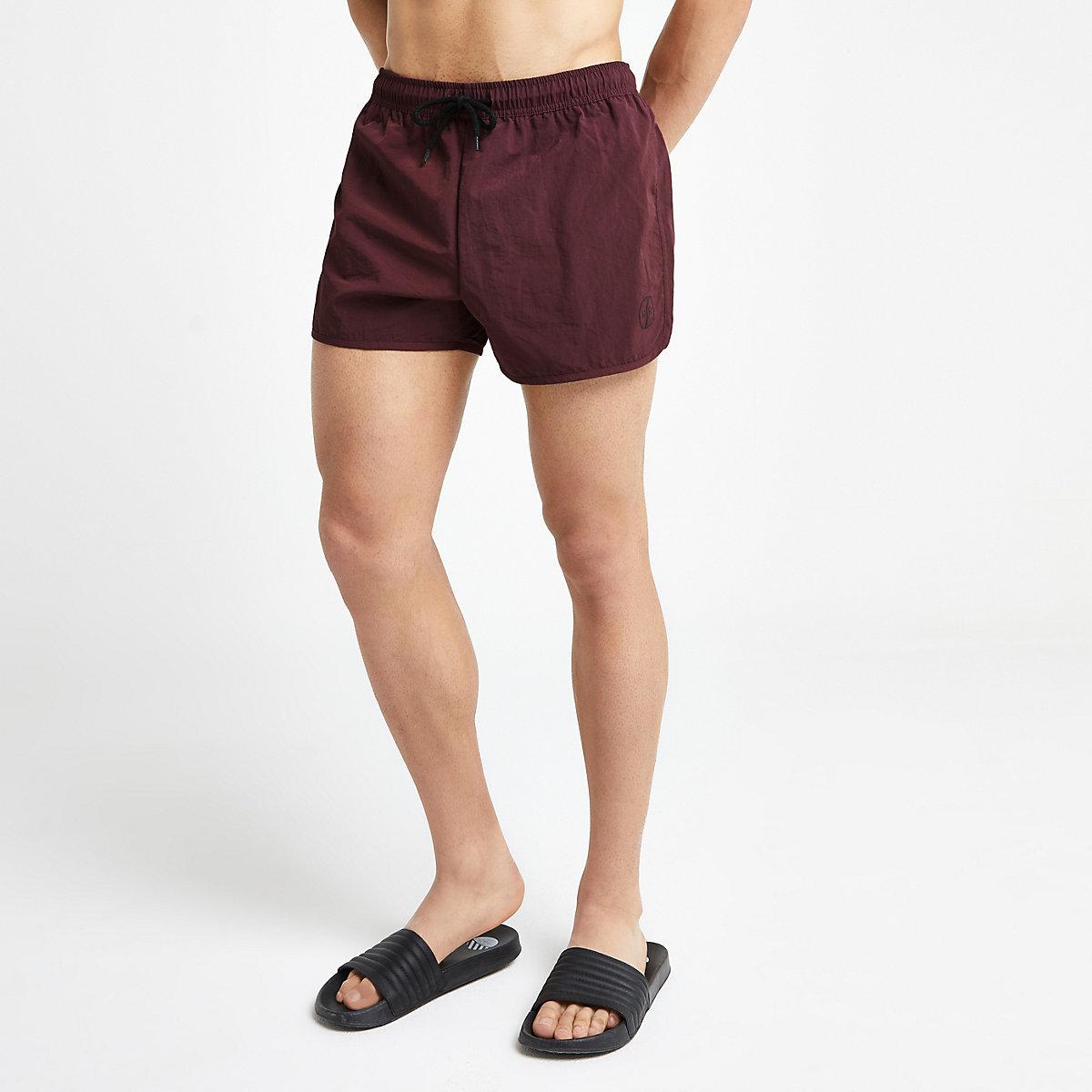 Burgundy runner swim shorts
