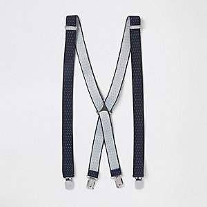 Navy pin dot braces