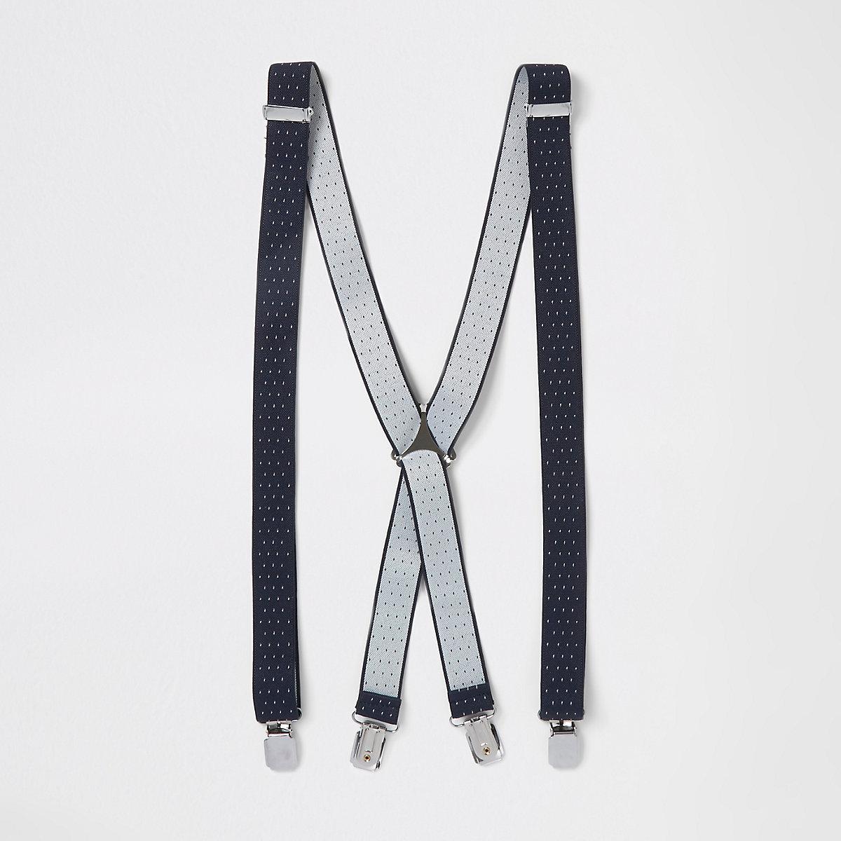 Navy pin dot suspenders