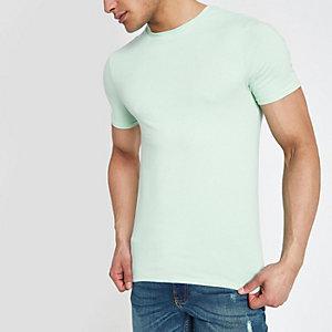 Hellgrünes Muscle Fit T-Shirt mit Rundhalsausschnitt