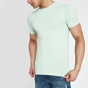 Light green muscle fit crew neck T-shirt