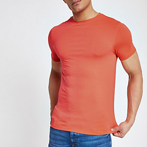 Bright orange muscle fit crew neck T-shirt