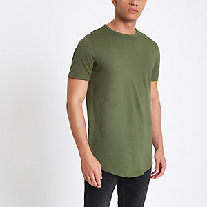 Green double curve hem T-shirt