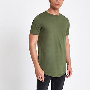Groen T-shirt met dubbele ronde zoom