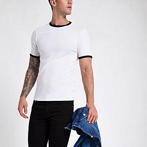 T-shirt ajusté blanc à bordure
