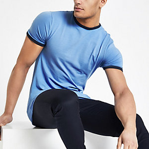 Blue muscle fit tipped T-shirt