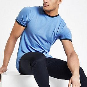 T-shirt ajusté bleu à bordure
