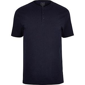 T-shirt bleu marine slim à col boutonné