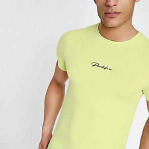 Geel aansluitend T-shirt met 'prolific'-print