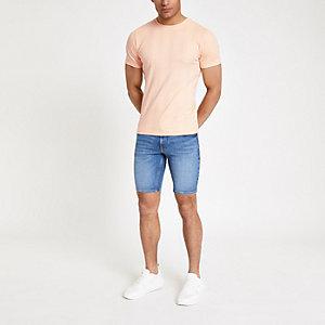Oranje geribbeld aansluitend T-shirt