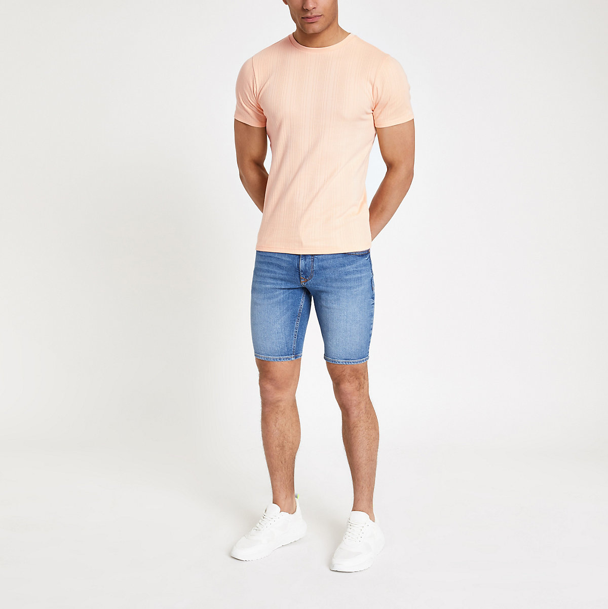Orange ribbed muscle fit T-shirt
