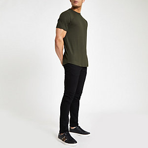 Green ribbed slim fit top