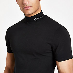 Black 'Prolific' muscle turtle neck T-shirt