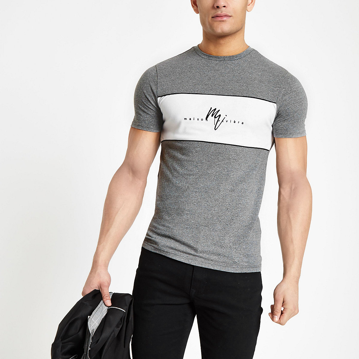 Grey 'Maison Riviera' muscle fit T-shirt