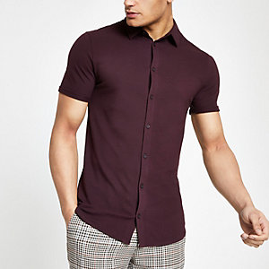 Red muscle fit button down shirt