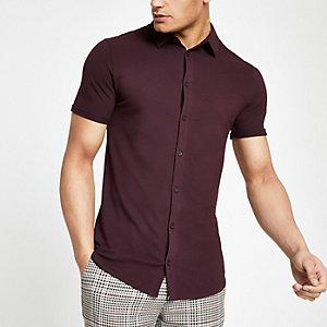 Rood aansluitend overhemd met knopen