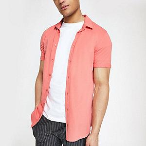 Chemise ajustée orange à manches courtes