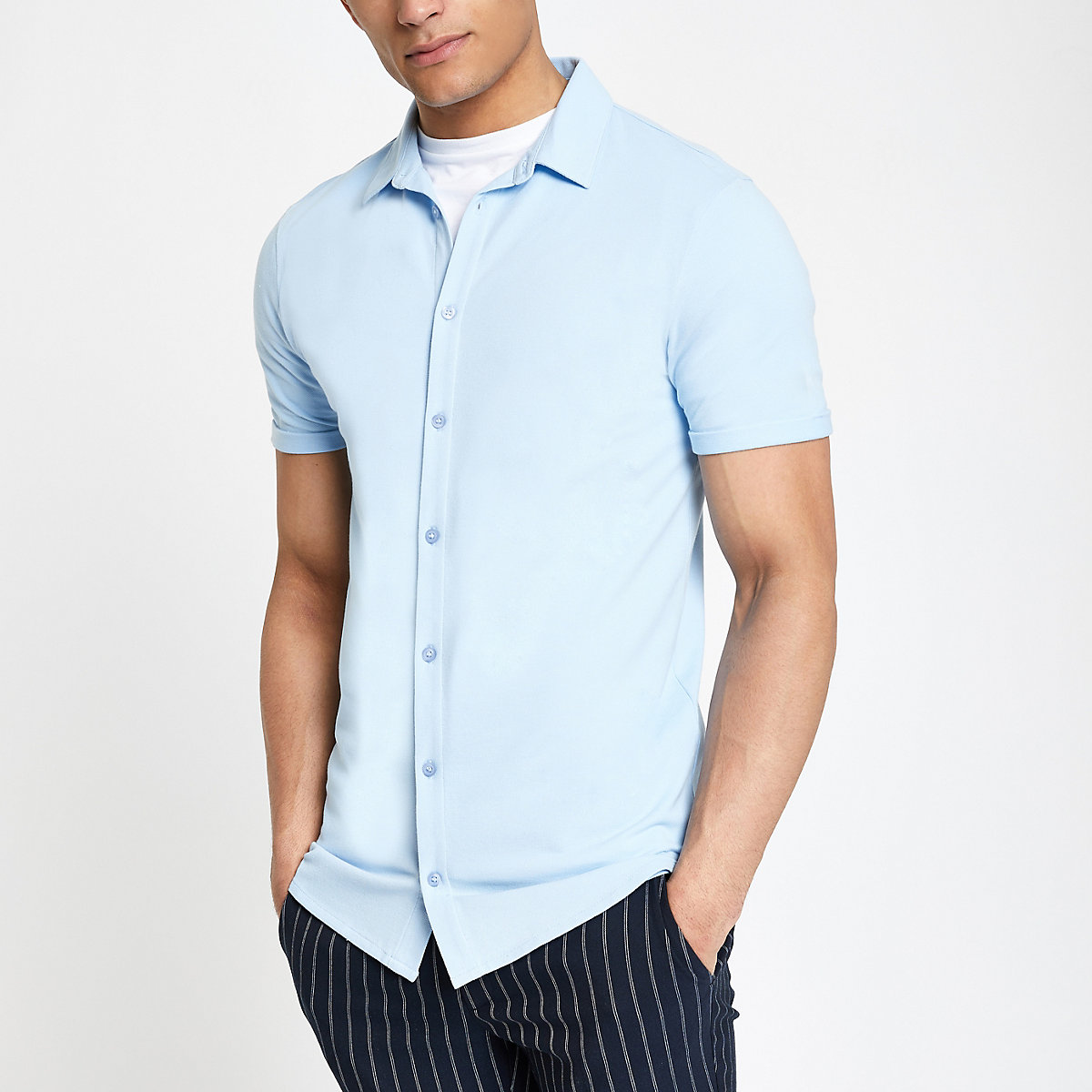 Blue muscle fit button down shirt