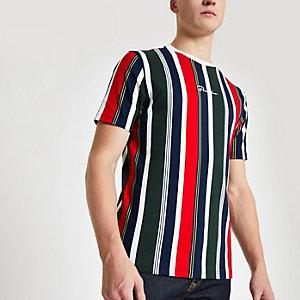 Marineblauw gestreept slim-fit T-shirt met 'Prolific'-print