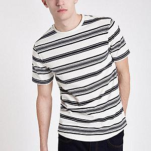 T-shirt slim rayé écru à manches courtes