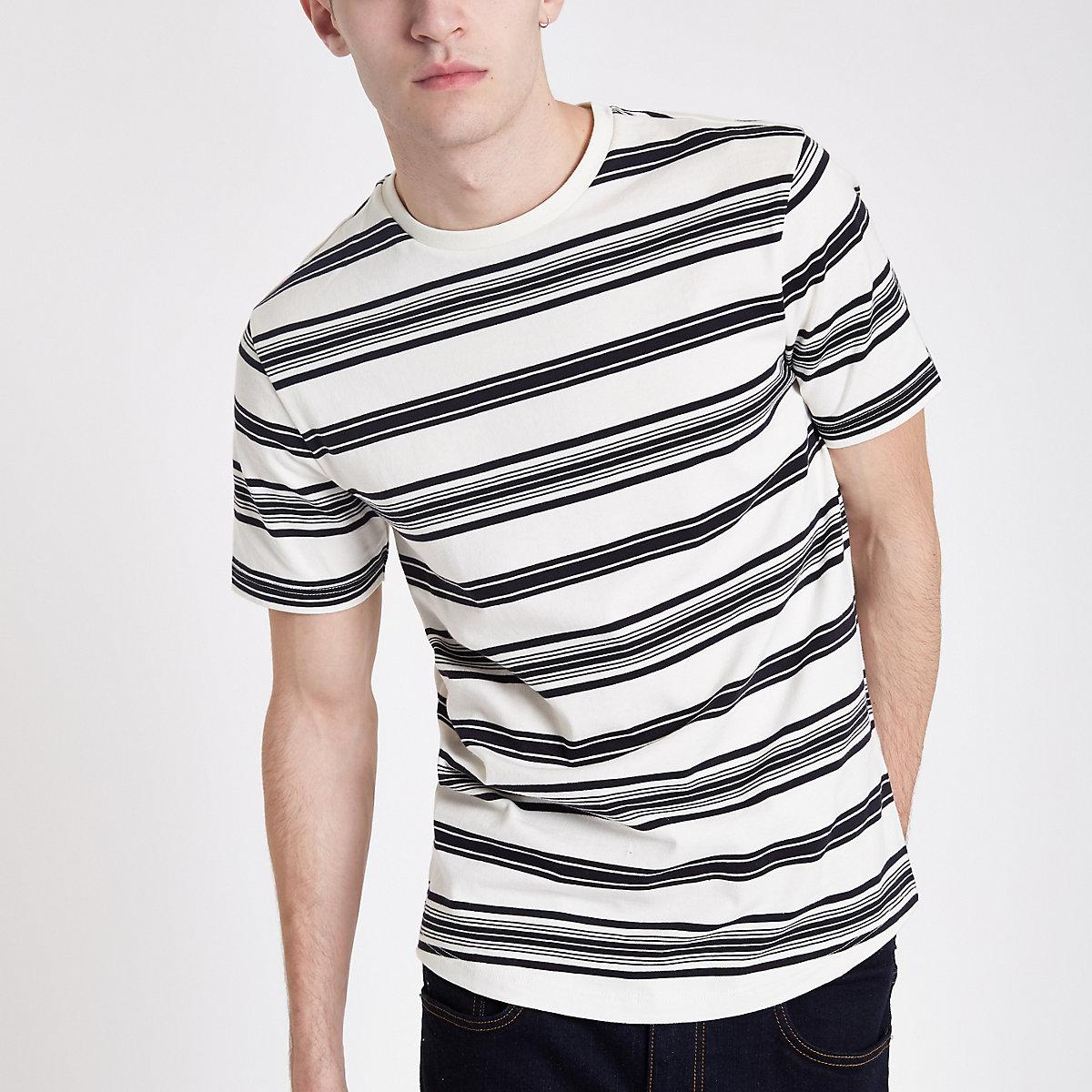 Ecru stripe short sleeve slim fit T-shirt