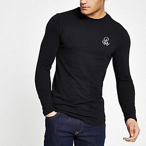 R96 – T-shirt ajusté noir à manches longues