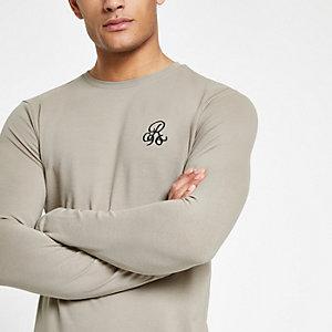 R96 – T-shirt ajusté grège à manches longues