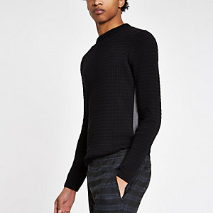 Black cable knit tape side muscle fit jumper