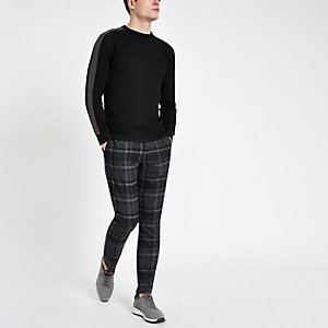 Black textured stripe sleeve slim fit sweater