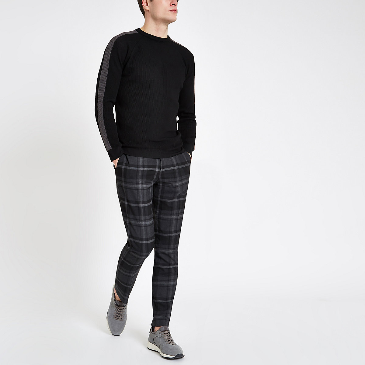 Black textured stripe sleeve slim fit sweater