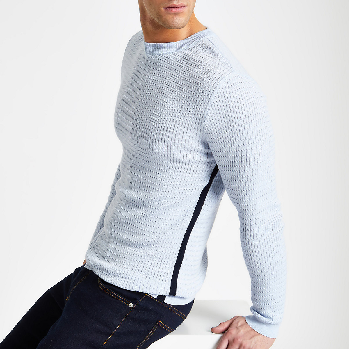Light blue cable muscle fit sweater
