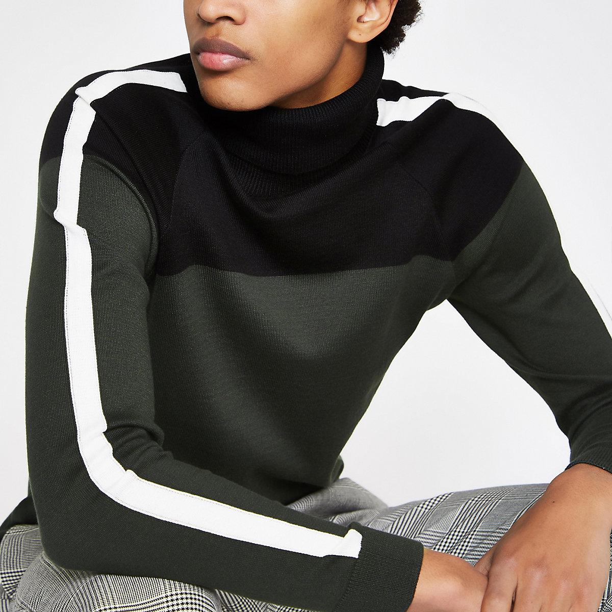 Khaki slim fit block roll neck sweater