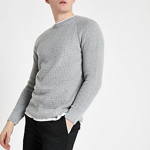 Grey slim fit stitch long sleeve jumper