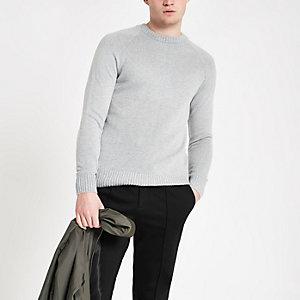 Grijze zachte slim-fit pullover